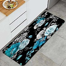 GUVICINIR Kitchen Mats Rug Washable,Teal and Gray