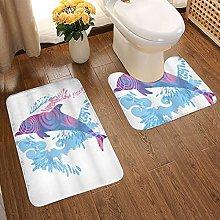 GUVICINIR Non Slip Bath Mat Set,Animals Dolphin