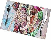 GuyIvan Elephant Placemats Plate Mats Table Mats