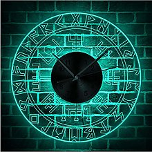 guyuell Norse Rune Compass Luminous Wall Clock