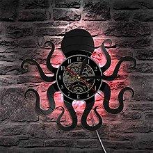 GVC 1Piece Octopus Mollusk Vinyl Record Wall Clock