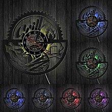 GVSPMOND 3D Vinyl Wall Clock Grill Creative