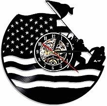 GVSPMOND Vinyl Wall Clock With American Flag Retro