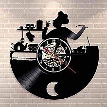 GVSPMOND Wall clock chef vinyl record wall clock