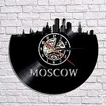 GVSPMOND Wall Clock Moscow Skyline Vinyl Record