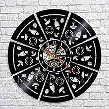GVSPMOND Wall clock pepperoni pizza wall