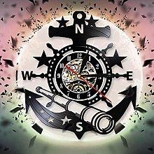 GVSPMOND Wall clock ship with nautical steering