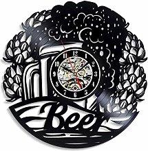 GVSPMOND Wall Clock Vinyl Record Beer Art 3D
