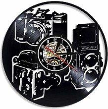 GVSPMOND Wall Clock Vinyl Record Camera Classic CD