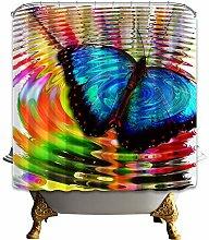 gwregdfbcv Butterfly playful water Shower curtain