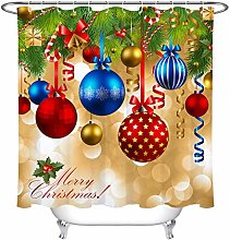 gwregdfbcv Colorful christmas ball shower curtain