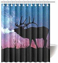 gwregdfbcv Deer Galaxy Bathroom Shower Curtain