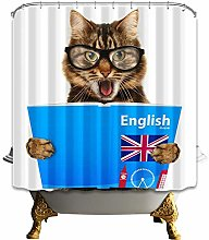 gwregdfbcv Knowledgeable cat reading Shower curtain