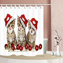 gwregdfbcv Three christmas kittens Shower curtain