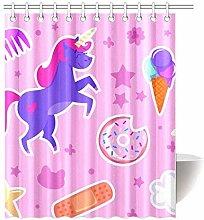 gwregdfbcv Unicorn Donut Star Bathroom Shower