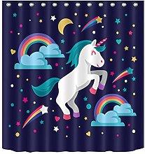 gwregdfbcv Unicorn Rainbow Shower Curtain