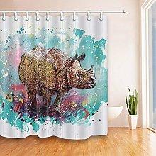 gwregdfbcv Watercolor rhino Shower curtain