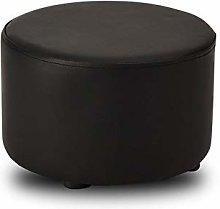 GWZSX Wood stool child leather ottoman small