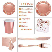 Gxhong 193pcs Party Tableware Set, Rose Gold Party