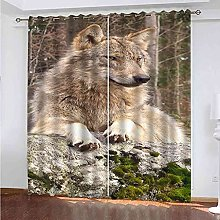 GXLOGA Blackout Curtains for Bedroom Animal wolf