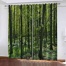 GXLOGA Blackout Curtains for Bedroom Green tree