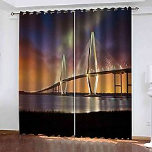 GXLOGA Blackout Curtains for Living Room 3D Bridge
