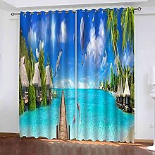 GXLOGA Thermal Blackout Curtains for Bedroom Blue