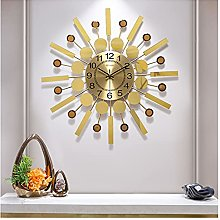 GXM-LZ Round Wall Clock for Living Room,Gold