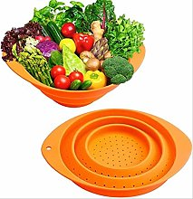 GYLW 2 Pack Kitchen Foldable Silicone Colanders