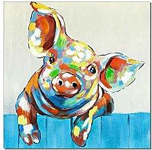 Gymqian Abstract Colorful Cartoon Pig Art Painting