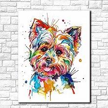 Gymqian Canvas Art Print Animal Colorful Dog Art