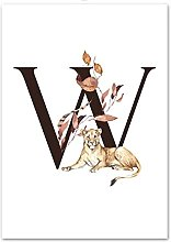 Gymqian Canvas painting Letter W animal leaves art