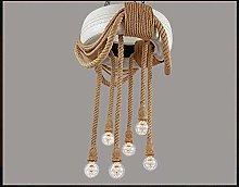 Gymqian Ceiling Light Tire Chandelier Hemp Rope