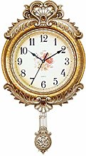 Gymqian Clock European Style Retro Wall Gold