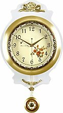 Gymqian Clock European Style Wall 20 Inches Brass