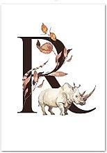 Gymqian Letter R animal leaves Art painting Print