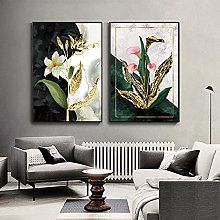 Gymqian Modern Golden Flowers Vintage Abstract Art