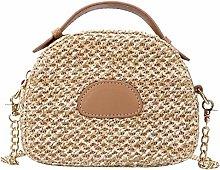 Gymqian Ms Woven-Straw Carrybag Shoulder Bags