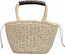 Gymqian Ms Woven-Straw Handbag Basket Shopping