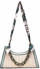 Gymqian Ms Woven-Straw Shopping Basket Handbag