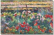 Gymqian Peony Garden Claude Monet Canvas Wall Art