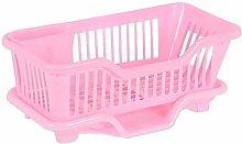Gymqian Pink Drain Rack, Plastic Kitchen Sink,