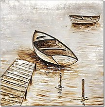 Gymqian Print On Canvas Abstract Boat On The River