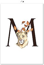 Gymqian Print On Canvas Letter M animal leaves
