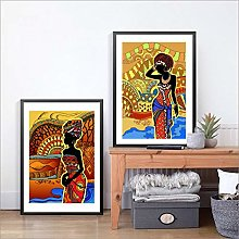 Gymqian Traditional Painting Black Woman Canvas