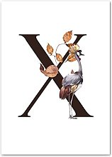 Gymqian vintage Canvas painting Letter X animal