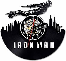 Gymqian Wall Clock Black Hollow Record Clock Made