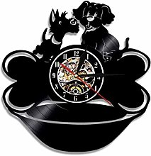 Gymqian Wall Clock Black Pug with Bone Wall Clock