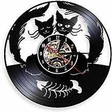 Gymqian Wall Clock Cat Love Wall Clock 2 Cat Love