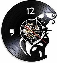 Gymqian Wall Clock I Love Cat Vinyl Record Mute